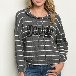 Gray + ivory pullover striped Honey graphic hoodie